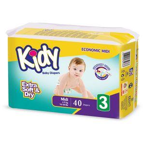 Kidy Couche midi taille 3 (4-9 kg) - paquet de 40