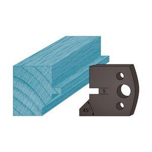 Diamwood Platinum Jeu de 2 contre-fers profilés Ht. 38 x 4 mm languette et chanfrein A83 pour porte-outils de toupie