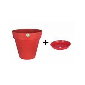 Image de Riviera Pot et Soucoupe SOLEILLA diametre 20cm H18cm rouge