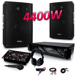 Ibiza Sound PACK SONO 4400W DJ PA Set BAR CLUB DISCO15B + Ampli AX2000 MyDj + Table de Mixage USB MP3 + Micro Casque Câbles