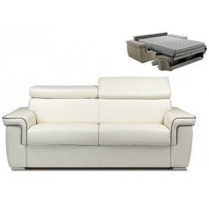 Canapé 3 places convertible express en simili ALTESSE - Blanc avec passepoil gris - Matelas 18cm