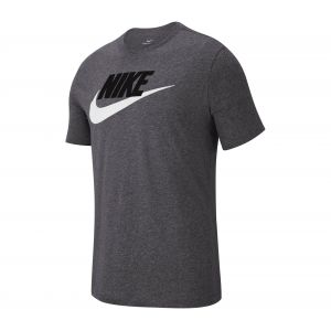 Nike M NSW Tee Icon Futura T- T-Shirt Homme, DK Grey Heather/Black/White, FR : S (Taille Fabricant : S)