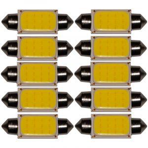 Aerzetix : 10x ampoule C5W 12V LED COB HIGH POWER 1.5W 36mm navette éclairage intérieur plaque d'immatriculation seuils de porte plafonnier pieds lecteur de carte coffre compartiment moteur
