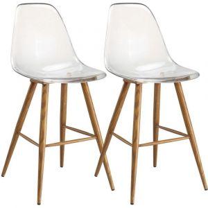 7d3b0eed7215af Inside75 Lot de 2 chaises de bar design scandinave OSANA en polycarbonate  transparent