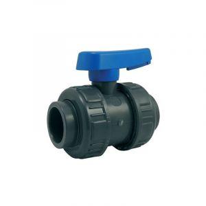 Ezfitt Vanne PVC à sphère double union - serie eau - raccordement femelle à coller - 50mm