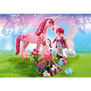 Playmobil 5443 Fairies - Fée Coquette avec licorne rose