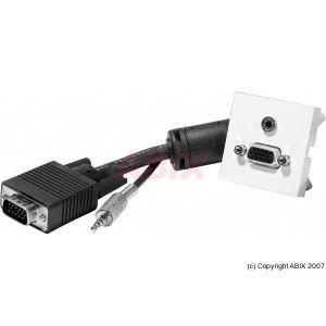Dexlan Plastron 45x45 VGA + Jack mâle / femelle (avec câble 5 m)