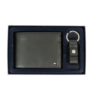 Tommy Hilfiger Coffret portefeuille italien et porte-clés Eton en cuir de vache noir