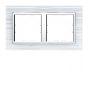Hager Kallysta plaque 3 postes vertical entraxe 57mm cristal grafik WK967