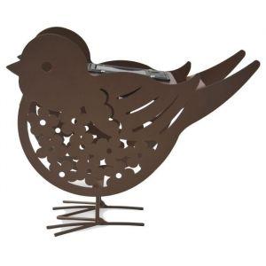 Mundus Déco solaire Titi l'oiseau métal - 20,6 x 5,9 x H 17,5 cm - Finition métal vieilli - Idéal dans un parterre de fleur, sur une terrasse ou une devanture de maison