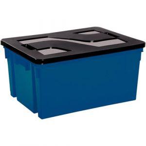 Eda Plastiques Bac de rangement avec couvercle en plastique - 50 L - bleu minéral et noir - Bac de rangement, Fourre-tout