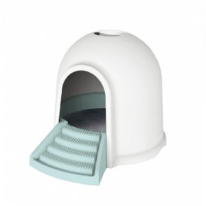M pets Maison de toilette Igloo 2en1 - 45,7x59,7x43,2cm - Blanc et bleu - Pour chat