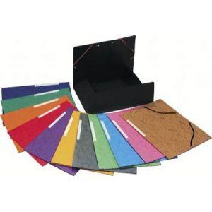 Exacompta 55510E - Chemise à élastique 3 rabats Carte lustrée, coloris assortis (10)