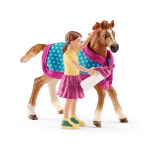 Figurine Poulain avec couverture Série Horse club 8,1x2,2x7,9 cm