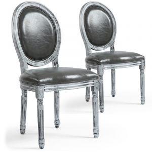 """Declikdeco Lot de 2 Chaises Médaillon Similicuir """"Versailles"""" 96cm Gris & Argent"""