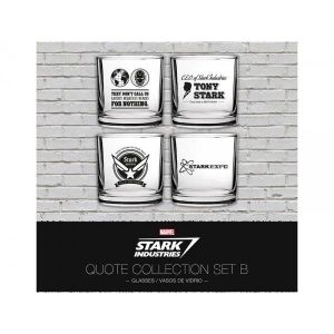 4 verres Marvel Iron Man Stark Industries Set 2