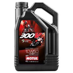 Motul Huile Lubrifiant Moto 300V2 4T Factory Line Road Racing 10W-50, 4 litres