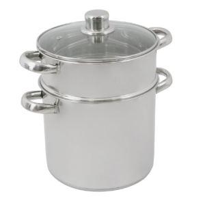 Crealys 502365 - Couscoussier en inox avec couvercle en verre (24 cm)