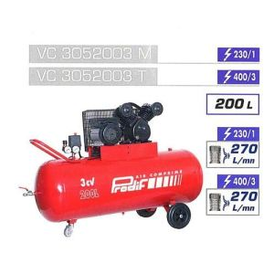 Prodif VC3052003M - Compresseur courroie bi-cylindre V 200L 3CV