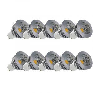 Vision-El LOT 10 x Spot LED COB 6W (55W) GU10 Dimmable Angle 80° Blanc jour 4000°K ampoule