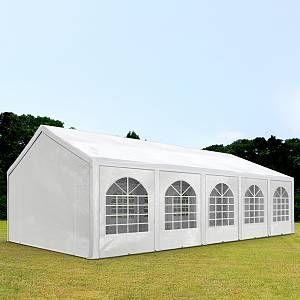 Intent24 Tente Barnum de Réception 4x10 m PE Bâches Amovibles 200-240 g/m² BLANC / Jardin Tonnelle Pavillon Chapiteau.FR