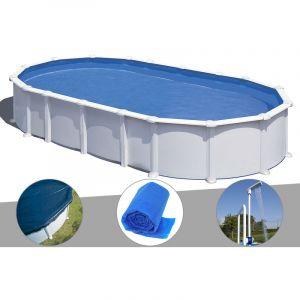 Gre Kit piscine acier blanc Atlantis ovale 8,15 x 4,90 x 1,32 m + Bâche hiver + Bâche à bulles + Douche