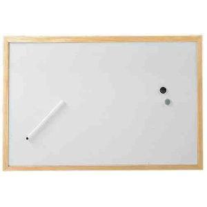 Hebel Tableau blanc avec cadre en bois (60 x 90 cm)