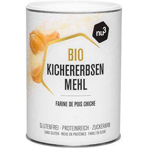 Nu3 Farine de Pois Chiche Bio 400g - Farine sans gluten riche en fibres - Moins de glucides et plus de protéines que la farine de blé - Parfait pour vos recettes pancakes et sauces en cuisine