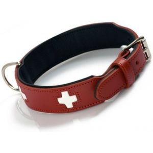 Hunter Hundehalsband Swiss, Collier de chien en cuir, 55, Rouge/Noir