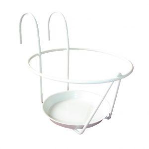 LG Porte pot soucoupe avec crochet en métal blanc Ø 16/18 cm