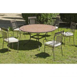 Hévéa Belice/Vigo - Table de jardin 140 cm et 6 fauteuils avec coussins