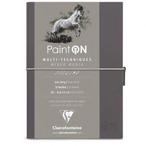 Clairefontaine Carnet cousu Paint'On, 250g/m², Gris, A5, 14,8 cm x 21 cm