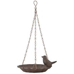 Esschert design Mangeoire à oiseaux suspendu avec oiseau décoratif