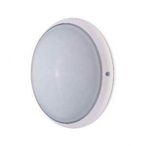 Ebénoid Hublot extérieur fluo 14W Ø 245mm anneau blanc diffuseur verre avec lampe 4000K E27 CL2 IK02 IP54 DUNE 079118