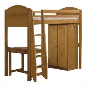 Lit mezzanine Verona avec armoire et bureau en pin (90 x 190 cm)