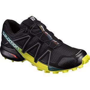 Salomon Speedcross 4 - Chaussures à Randonnée - Homme - Noir/Jaune (Black/Everglade/Sulphur Spring) - 46 EU
