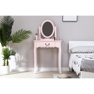 Coiffeuse avec Miroir + Tabouret Décor rose et pied en bois L 66 x P 36,5 x H 127