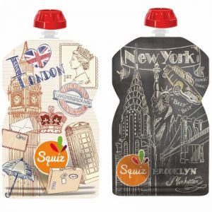 Squiz 2 gourdes réutilisables City Londres New York (130 ml)