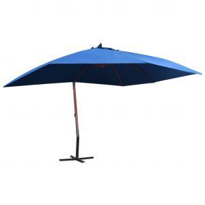 VidaXL Parasol suspendu avec mât en bois 400x300 cm Bleu