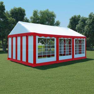 VidaXL Chapiteau de jardin PVC 4 x 6 m Rouge et blanc