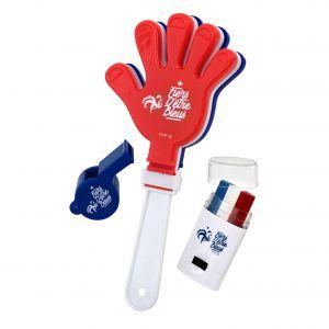 FFF Set Fan - Set Fan FFF - Sifflet + Clap clap - Plastique - Bleu blanc et rouge - Fiers d'être Bleus - Applaudissez pendant des heures sans vous fatiguer !