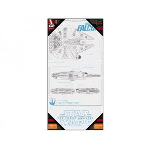 SD Toys Poster en verre Star Wars Episode 7 Millenium Falcon Blueprint (50 x 25 cm)