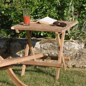 Table de pique-nique carrée en teck massif 50 x 50 x 50 cm