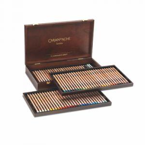 Caran d'Ache Coffret bois Prestige 76 crayons de couleurs Luminance