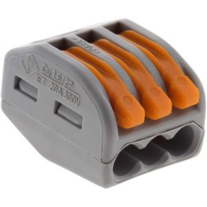 Wago Lot de 50 mini bornes de connexion rapide à levier S222 pour fils rigides et souples 3 entrées