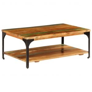 VidaXL Table basse et étagère 100x60x35 cm Bois de récupération solide