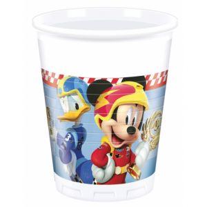 8 gobelets en plastique Mickey & Donald Racing 200 ml