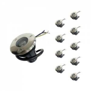 Silamp Spot Extérieur Encastrable LED IP65 220V Sol 3W 45° (Pack de 10) - Blanc Chaud 2300K - 3500K -