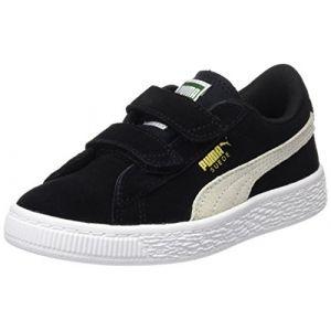 Puma Suede 2 Straps PS, Sneakers Basses Mixte Enfant, Noir (Black-White), 28 EU