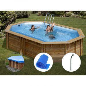 Sunbay Kit piscine bois Cannelle 5,51 x 3,51 x 1,19 m + Bâche hiver + Bâche à bulles + Douche